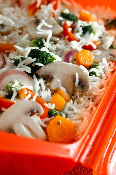 Arroz basmati con verduras en el microondas