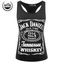 Jack Daniels Whisky Czarny PREMIUM Tri-mieszanka Racer Powrót Rękawów Słodkie Lato Zbiornik Racerback dla Kobiet Panie Pani dziewczyny(China (Mainland))