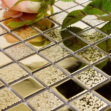 Gold Porcelain Tiles Bathroom Wall Backsplash Glaze Ceramic Small Tile Squares Mosaic Designs GPM062