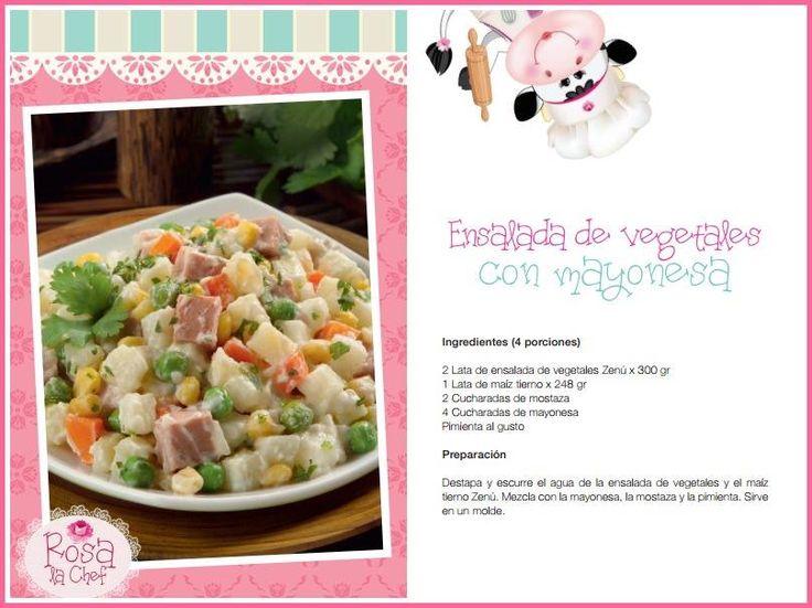 Ensalada de vegetales con mayonesa.