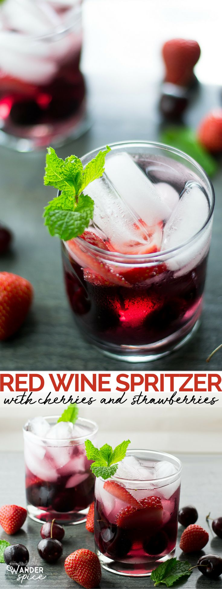 Red Wine Spritzer with Cherries and Strawberries. Red Wine | Cherries | Strawberries | Spritzer | Vegan