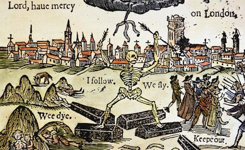 Plague Of London, 1665.   Lord, have mercy on London. Contemporary English woodcut on the Great Plague of 1665. Used as art work for recent printing of Daniel Defoe's A Journal of the Plague Year.