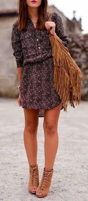 Cute dress, camel booties and bag. Fall look ideas 2015.