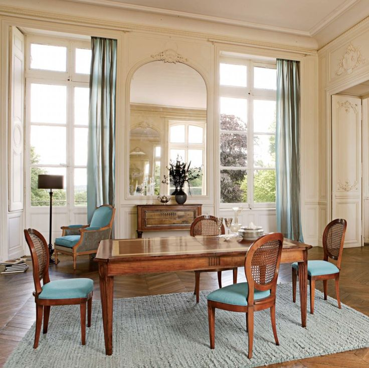 Dining Room Design Ideas Blue And Beige Antique Mirror Long Table Chairs Floor Lamp Curta