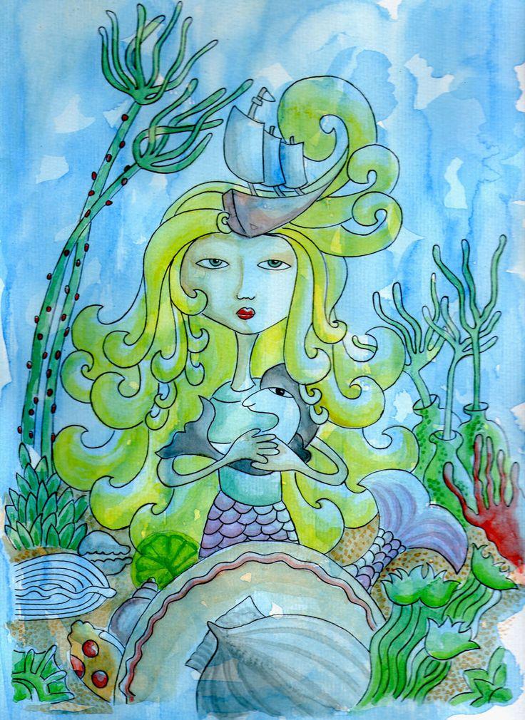 """Ilustración en acuarela y tinta china """"En el fondo del mar"""""""
