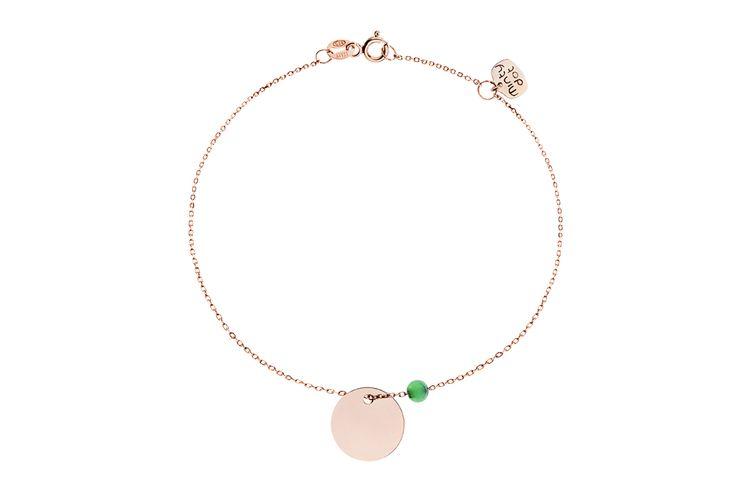 Kolekcja Dream, różowe złoto z koralikiem z chryzoprazu <3