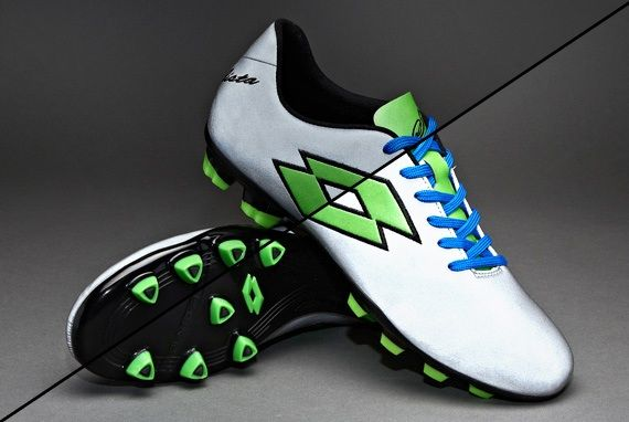 Lotto Solista FG Boots - Firm Ground - Soccer Cleats - Silver/Green #pdsmostwanted