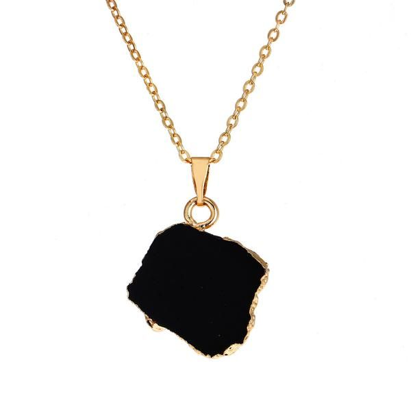 New Long Necklace Women Druzy Copper Golden Choker Chain +Shiriza.com Black Stone Jewelry Pendants Irregular Vintage Boho Collane donna