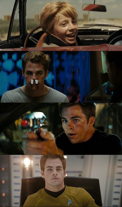 Star Trek (2009) Kirk's transformation throughout the movie.