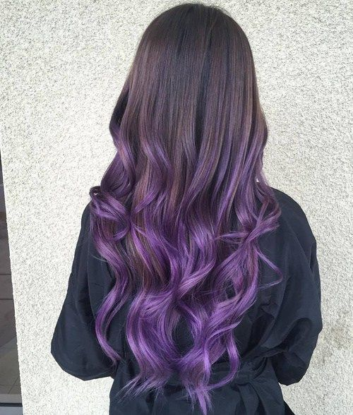 Brown teal purple ombre hair