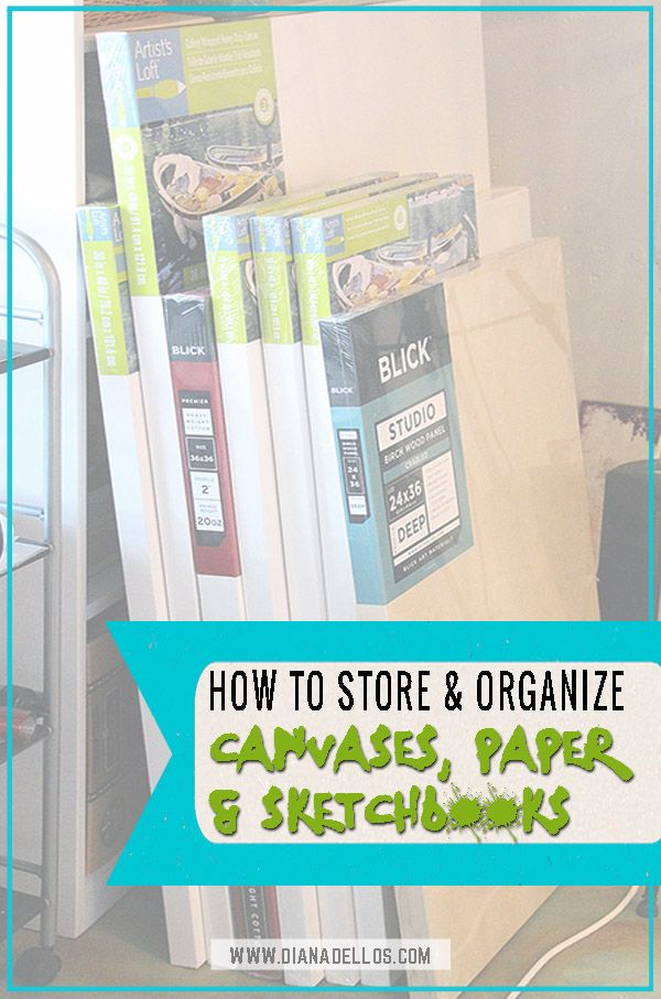 5 Ways To Organize Art Supplies Canvases Paper And Sketchbooks Art Supply Organization Art Studio Organization Art Supplies Storage