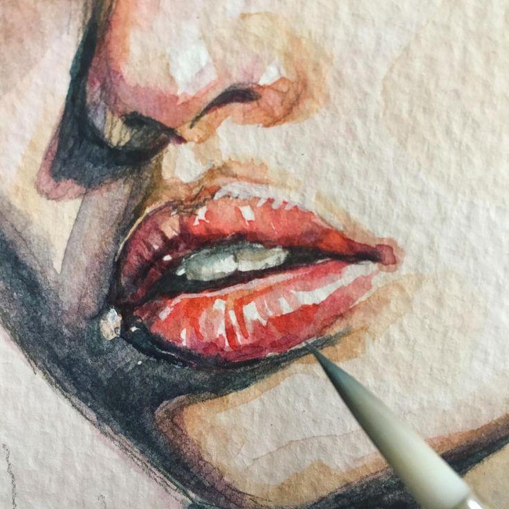 Очень много тепла и света на этих губах ) #рисунок #процесс #акварель #живопись #губы #drawing #painting #watercolor #lips @drawing.anatomy.and.art