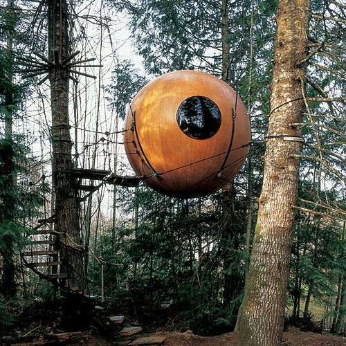 "Yes plz. ""Built on vision and engineering, these handcrafted spheres are suspended like pendants from a web of rope. They occupy a truly unique place in the world on the west coast of Vancouver island, while providing a habitat for the un-tamed spirit that exists in us all.Free Spirit Spheres """