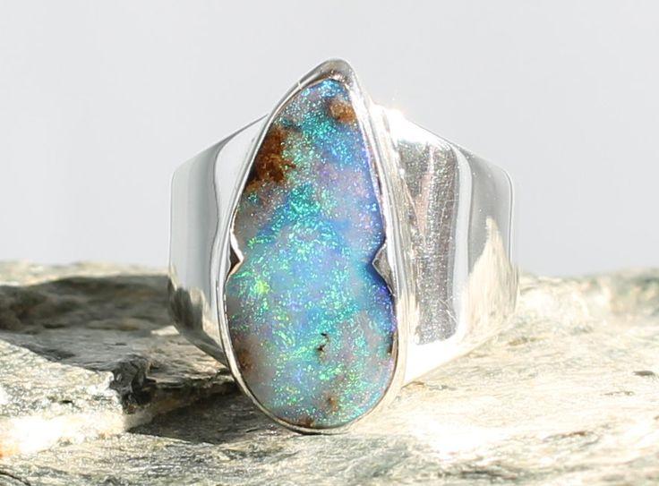 Bague Opale Boulder argent. taille 53. Pierre naturelle. Bague pierre  gemme. Opale d\u0027Australie. Bijoux Opale