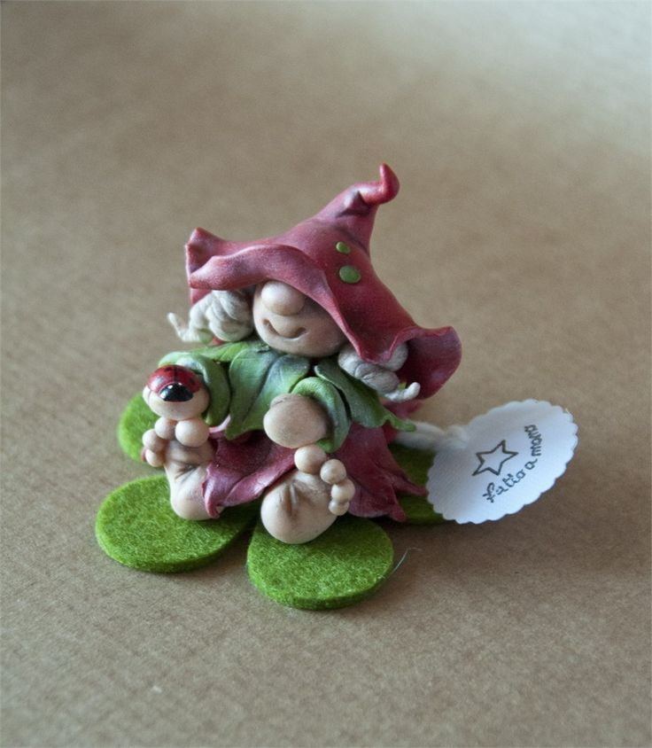 Gnome In Garden: Polymer Clay Gnome