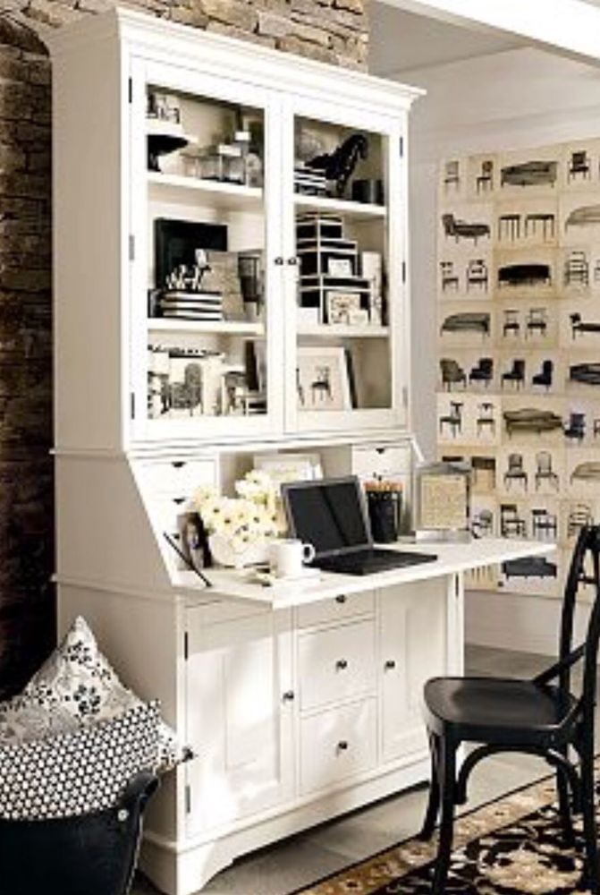 Pottery Barn Graham Secretary Desk With Hutch Large White PICK UP ONLY  | eBay