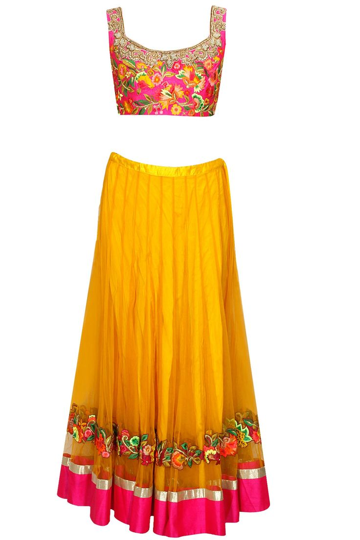 Yellow floral resham embroidered lehenga set by Aharin India. Shop now: http://www.perniaspopupshop.com/designers/aharin-india #lehenga #aharin #shopnow #perniaspopupshop