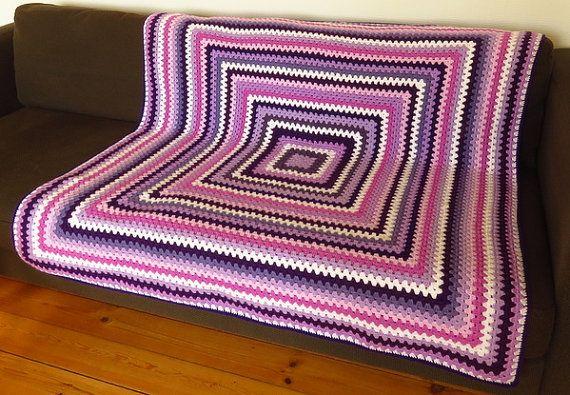 Purple Throw Blanket Crochet Afghan by PhoenixSmiles on Etsy