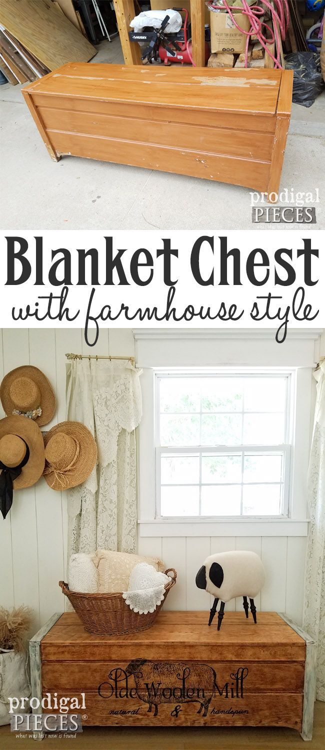 From blucky paint to farmhouse chic, this blanket chest has new life. See the makeover by Prodigal Pieces | prodigalpieces.com