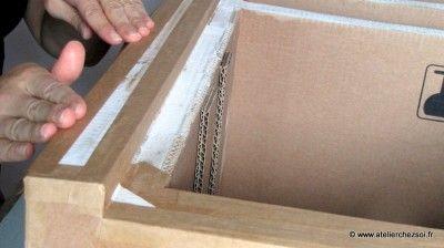 finition meuble en carton : kraftage
