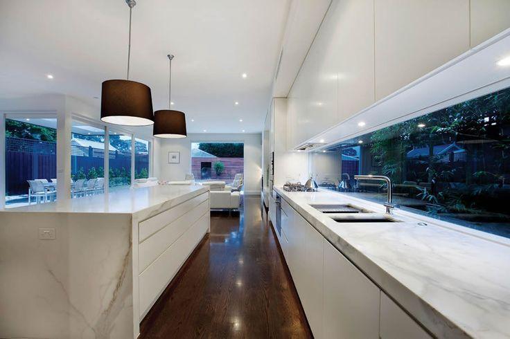 Kitchen window splashback Hawthorn | Melbourne Home Renovation - like the joinery + window