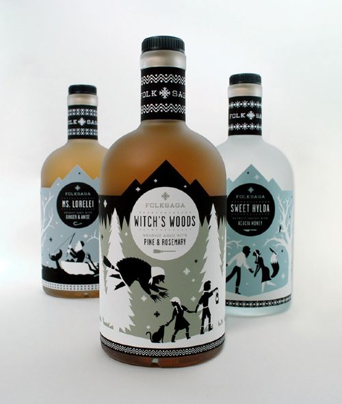 Beautiful illustration and package design by Caleb Heisey. The illustrations on each bottle of akvavit,a traditional scandinavian liquor, feature a popular folk tale from Sweden.