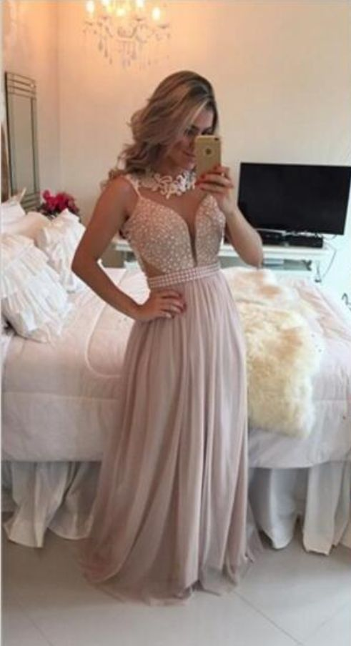 Evening Wear Pearls Beaded Top Appliqued O Neck Elegant A Line Floor Length Prom Dresses Long Gowns Chiffon