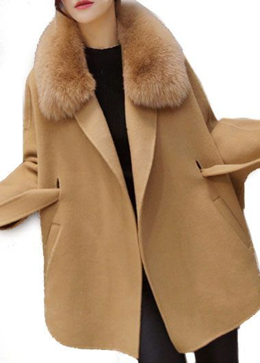 Belted Batwing Sleeve Faux Fur Collar Khaki Coat on sale only US$55.91 now, buy cheap Belted Batwing Sleeve Faux Fur Collar Khaki Coat at lulugal.com