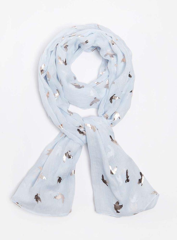 Foulard bleu métallisé à oiseaux