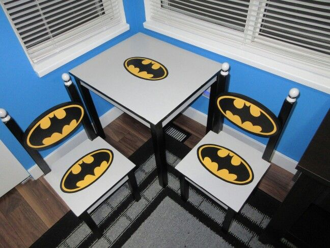 Re finished Batman table and chairs!! All hand painted and new wooden batman logo for chair back.