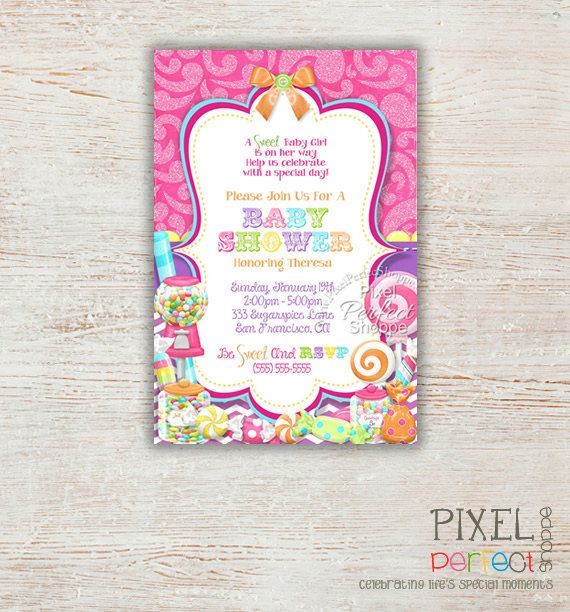 Baby Shower Invitation, Girl Shower Party, Party Invitations, Baby Party, Printable Cards, Sweet Shoppe, Candy, DIY, Baby Girl, Baby, Pink
