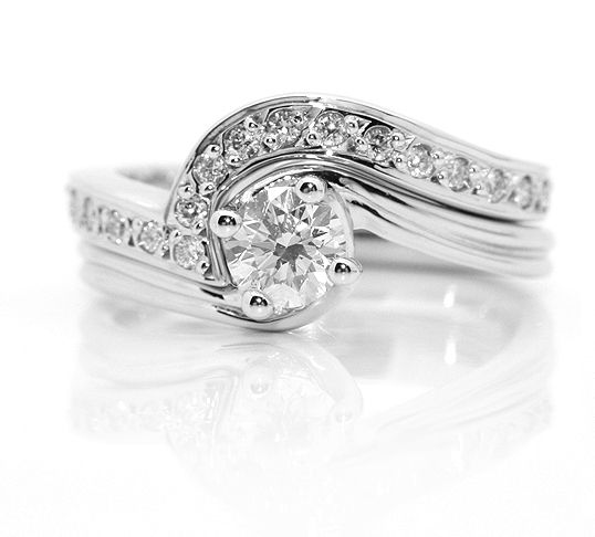 Shaped Wedding Ring Contoured To Fit Alongside A Four Claw Twist Engagement And Accented