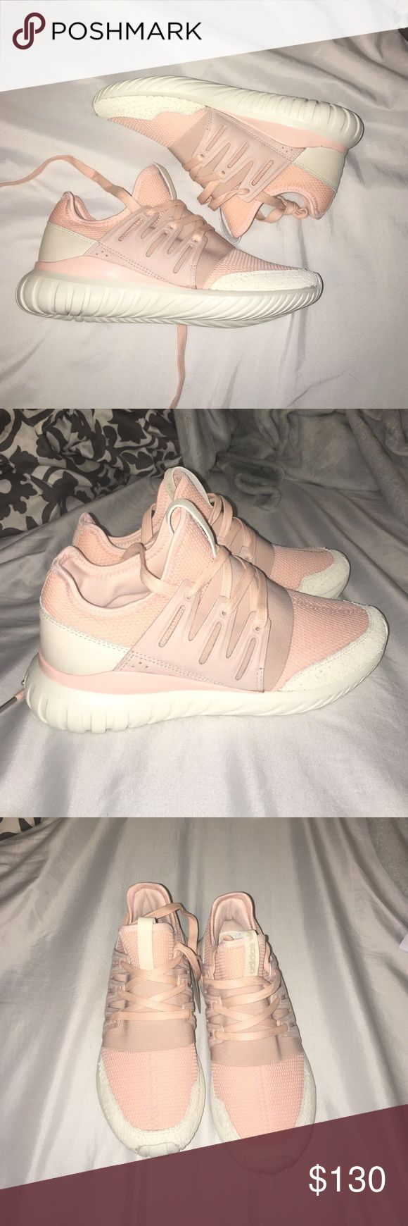Adidas Blush Pink Tubular Custom Size 8.5 I just got these in the mail and I am so upset I have to sell them. These are brand new and I ordered a size too big!  these are 8.5 but could fit a size 9 no problem. custom made. Tubular Radial | Heel overlay: off white | Toe overlay: off white- structured leather | Binding: blush pink | Lining: blush pink - mesh material | Elastic Gore: blush pink | Stripes: blush pink | Vamp: blush pink -mesh material | Sole/midsole: blush pink | Out sole: off…