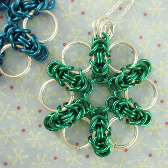 Byzantine Flower Pendant, Necklace or Key Chain Kit - Versatile, Fun, and Easy Chainmaille