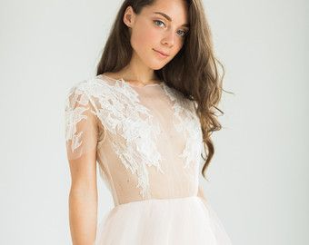 Romántico melocotón Vestido de novia con blusa pura con decoración de encaje hecho a mano / Vestido de boda de Persica