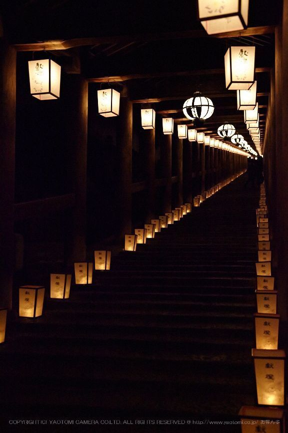 Night corridor at Hase-dera temple, Nara, Japan