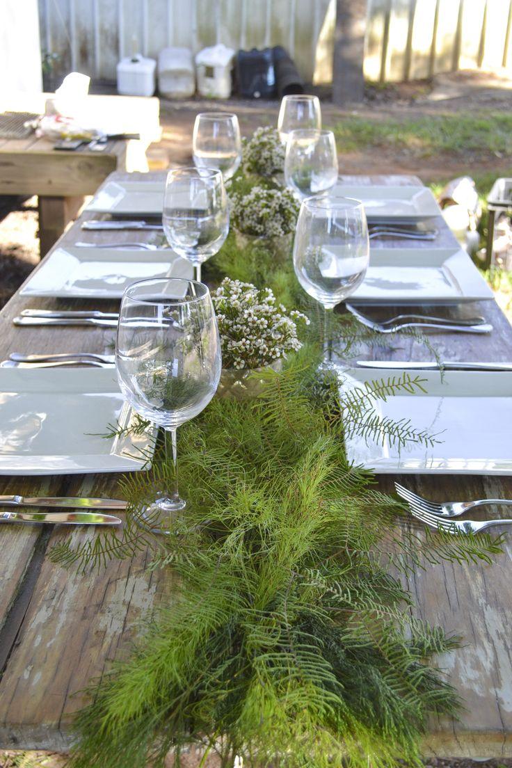 Table runner - Koala fern, Sea star fern, Bribie pine, Waxflower