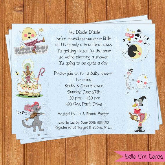 nursery rhymes baby shower invitations bsi374diy by