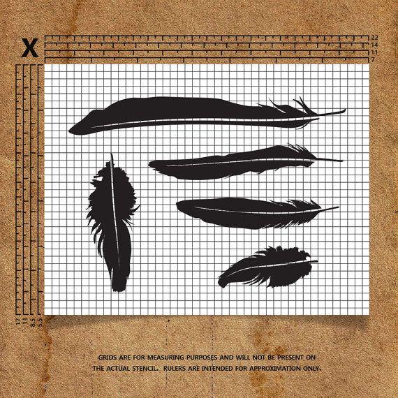 Feathers Stencil от TriggerHappyStencils на Etsy