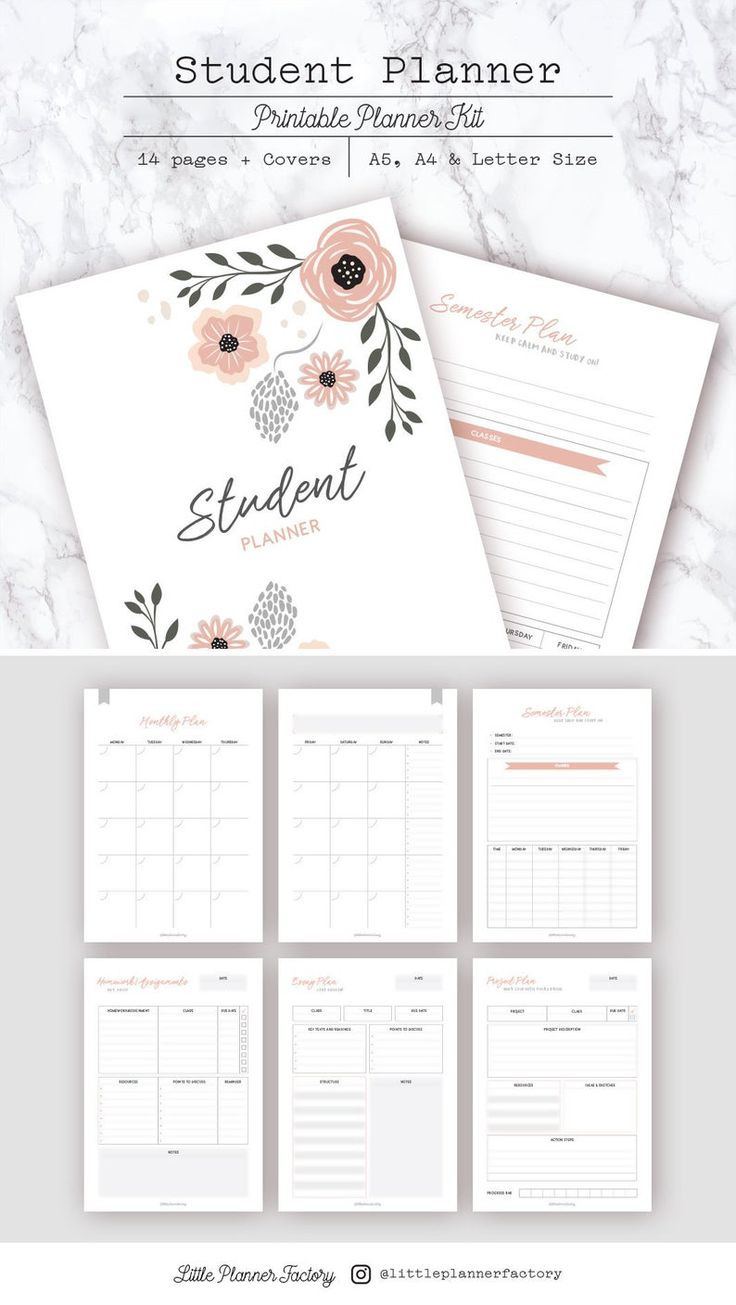 Student Planner. Homework and Assignment Tracker. A5, A4