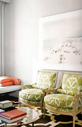 chairsDecor, Beach Photos, Massimo Vitali, Chairs Fabrics, Colors Pattern, Interiors, Ikat Chairs, Living Room, Green Chairs