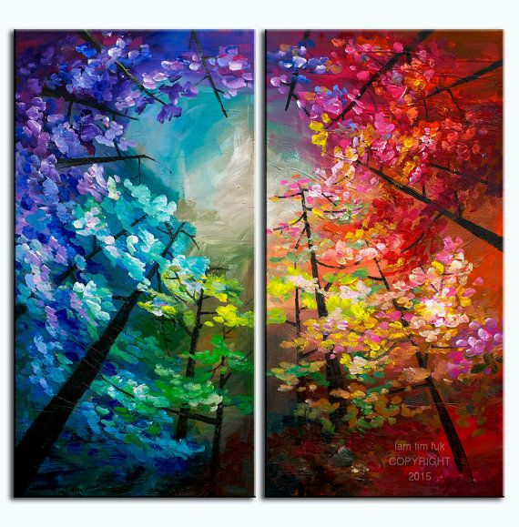 """Wall Art Painting Landscape Painting Original impasto modern tree art 48"""" MULTI colors abstract oil painting on gallery canvas by tim lam"""