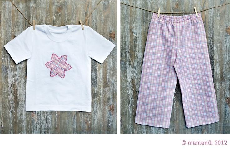 piżamka 'Maja' dla dziewczynek - różowy kwiatek kratka