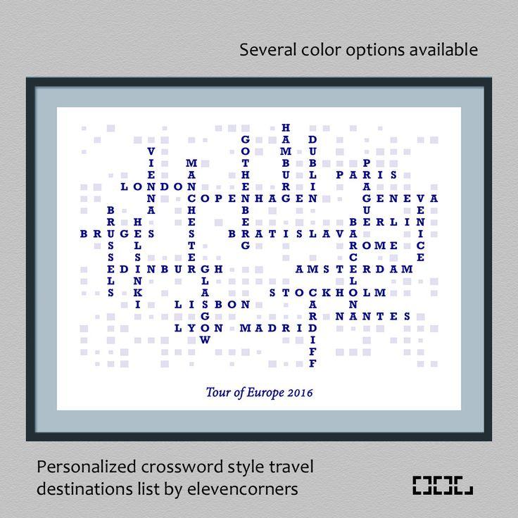 Personalized travel list crossword style wall art print by elevencorners - wall decor - travel print - travel gift - world map - poster by elevencorners on Etsy #elevencorners #decor #crossword #etsy