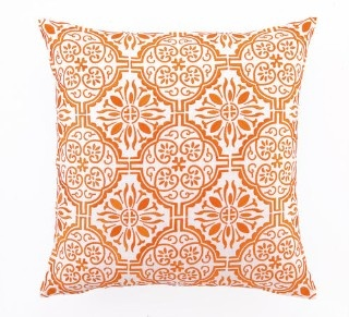 Barcelona Embroidered Pillow in Tangerine