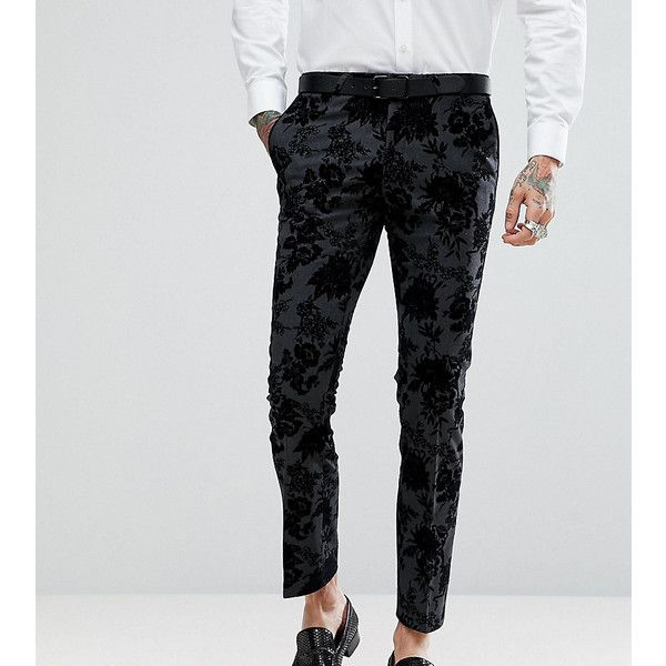 Noose & Monkey Super Skinny Suit Pants in Flocking (320 BRL) ❤ liked on Polyvore featuring men's fashion, men's clothing, men's pants, men's dress pants, black, mens skinny pants, mens skinny fit dress pants, mens zip off pants, mens stretch dress pants and mens stretch pants