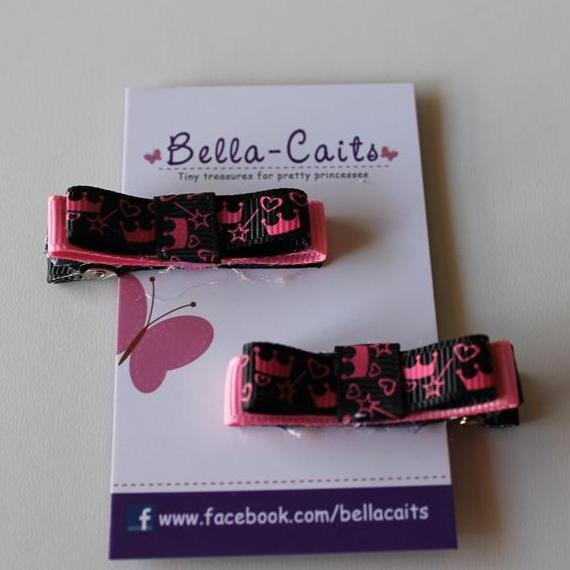 $5.00 Pink and Black Princess Hair Clips by Bella-Caits on Handmade Australia