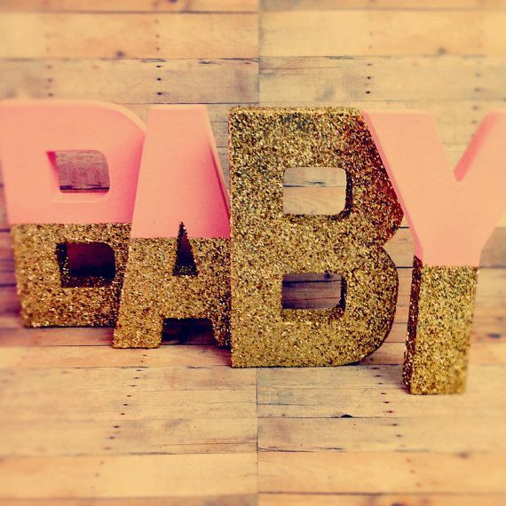 Glitter Nursery Baby Letters Pink and gold self standing you choose the
