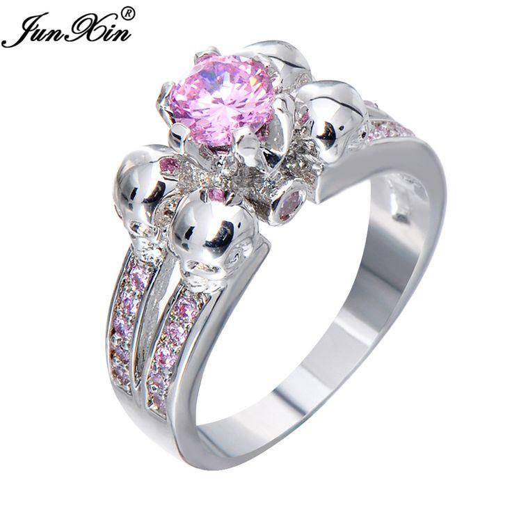 Junxin dễ thương nhẫn đầu lâu màu hồng cổ điển nhẫn cưới cho phụ nữ thời trang white gold jewelry đầy bague femme anies rw1220