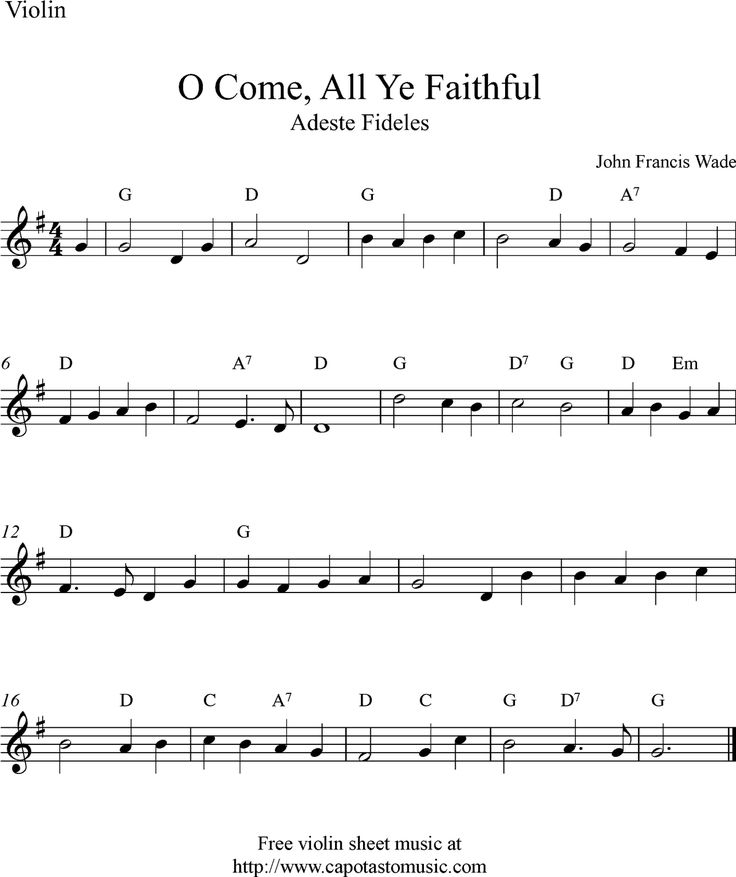 sheet music violin | Free Christmas violin sheet music, O Come, All Ye Faithful